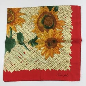 "Accessories - Sunflower Red / Multi-color Silk Square Scarf 34"""